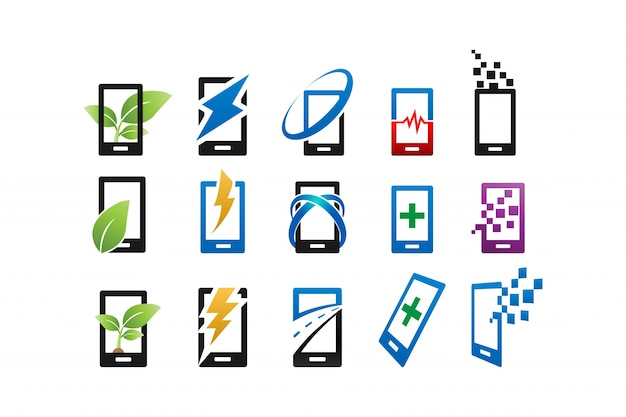 Abstract mobile phone logo and icon design template