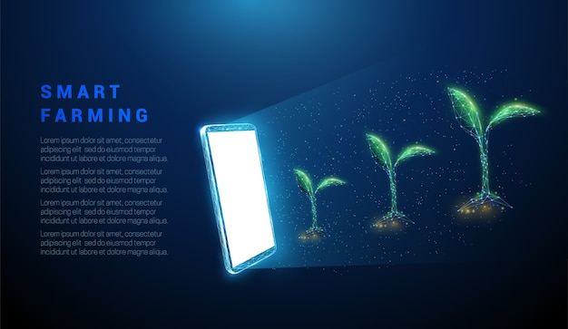 緑の植物と抽象的な携帯電話。