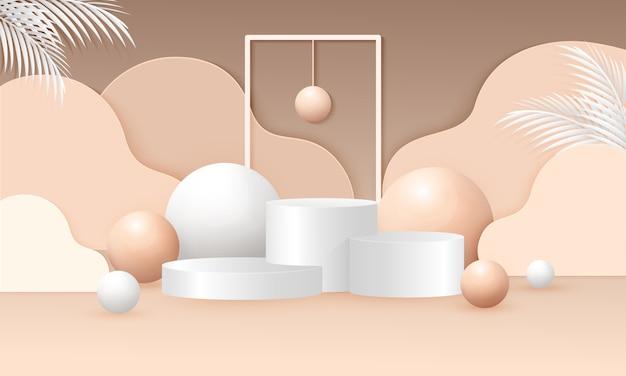 表彰台の幾何学形状のシーンイラストをモックアップします。