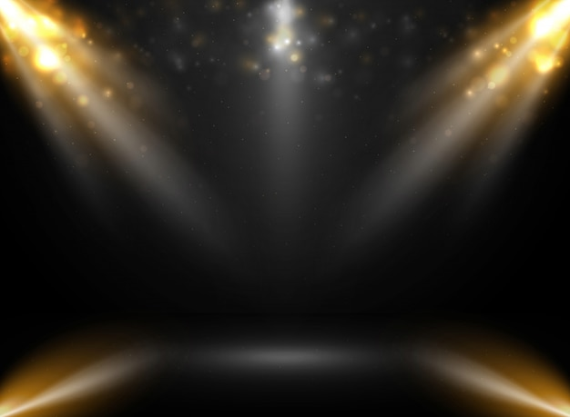 Abstract of mockup stage show in gradient black background with spotlights bokeh.