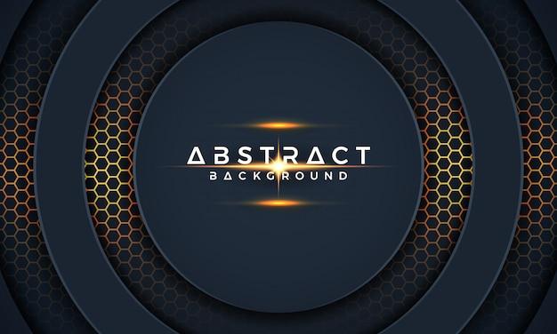 Abstract modern 3d dark circle paper cut background.
