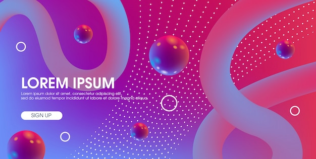 Abstract modern 3d landing page