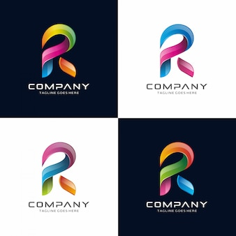 Abstract, Modern, 3D Letter R logo design.