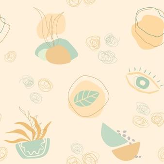 트렌디한 모양, 식물과 함께 추상적이고 현대적인 미학적 매끄러운 패턴입니다. 직물, 포장, 섬유, 벽지, 의류에 대한 창의적인 스칸디나비아 배경. 손 그리기 스타일에서 벡터 일러스트 레이 션.