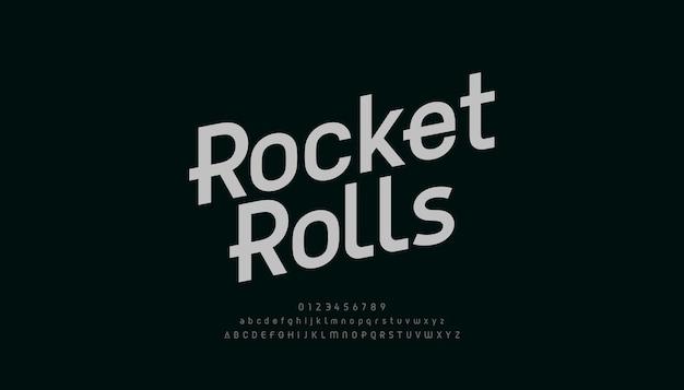 추상적 인 현대 알파벳 글꼴. 타이포그래피 전자 디지털 게임 음악 미래의 창조적 인 글꼴 및 숫자 디자인 개념.