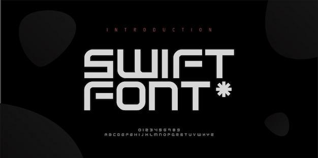 Абстрактные шрифты современного алфавита. типография электронное пространство цифровая игра музыка будущей творческой концепции дизайна шрифта. иллюстрация