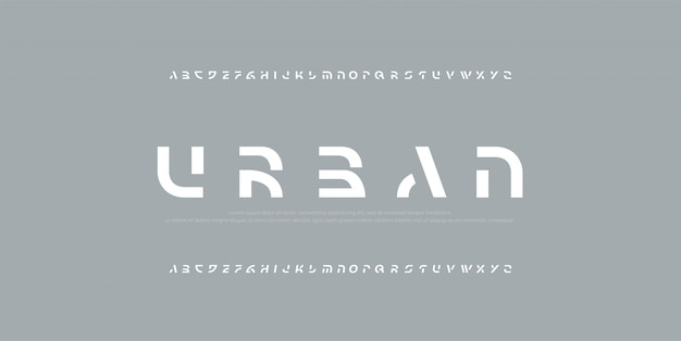 Abstract modern alphabet fonts.