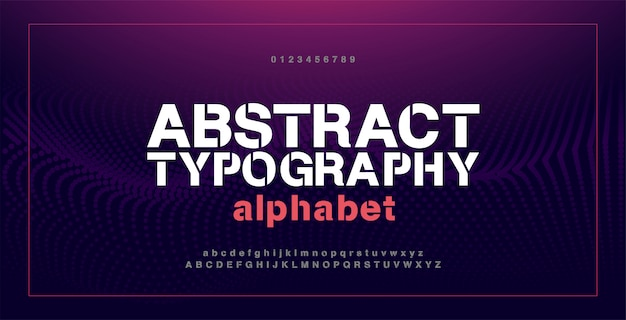 Abstract modern alphabet fontsand numbers. typography electronic digital game music future creative urban font design concept