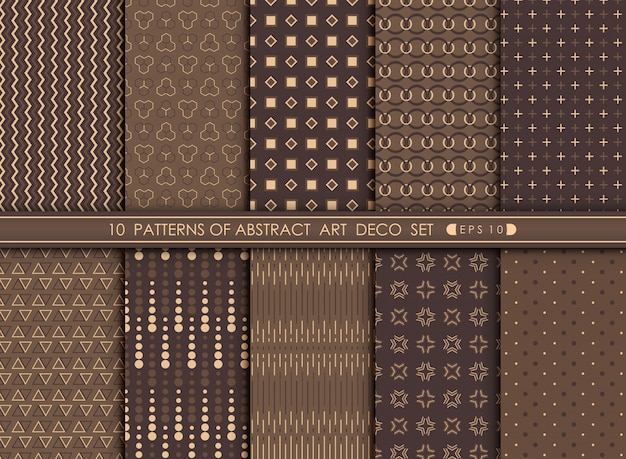 Abstract modern antique of art deco pattern design set.