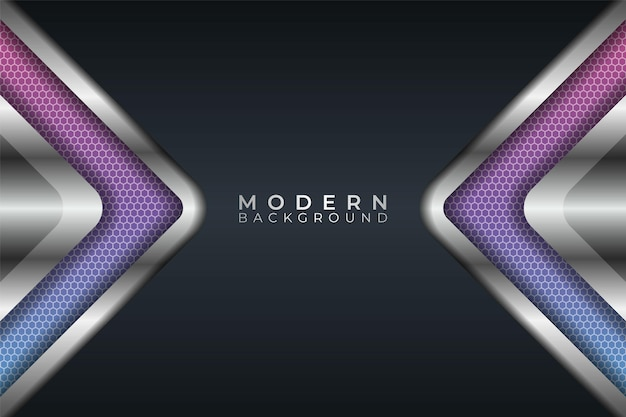 Abstract modern arrow metallic futuristic glow pink and blue with dark background