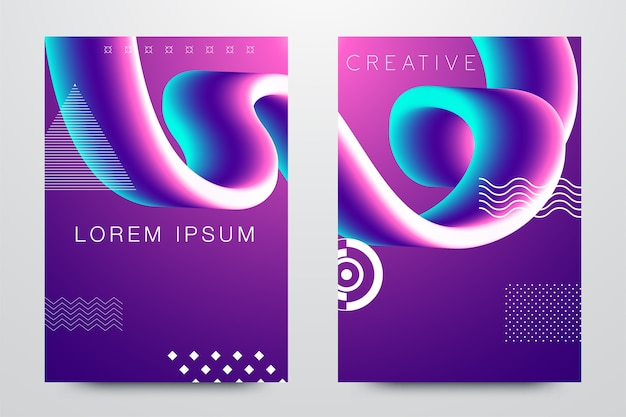 Абстрактное современное искусство охватывает набор шаблонов bauhaus memphis hipster стиль графический цвет жидкости