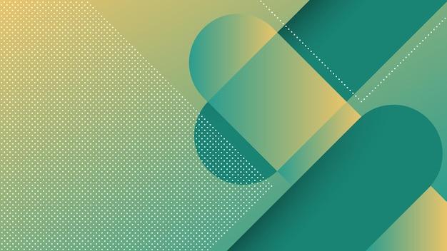 斜めの線とメンフィス要素と緑のトスカの鮮やかなグラデーションカラーで抽象的なモダンな背景
