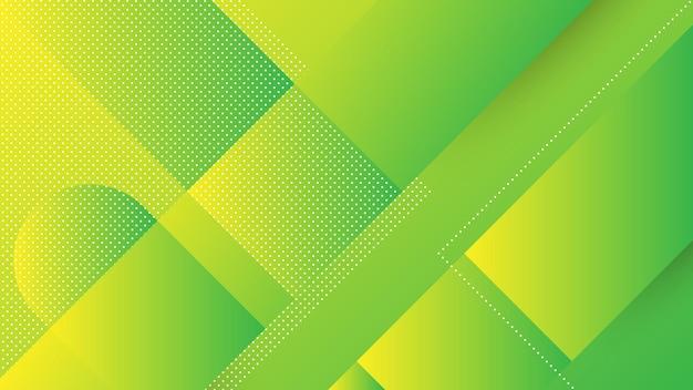斜めの線とメンフィス要素と緑黄色の鮮やかなグラデーションの色で抽象的なモダンな背景