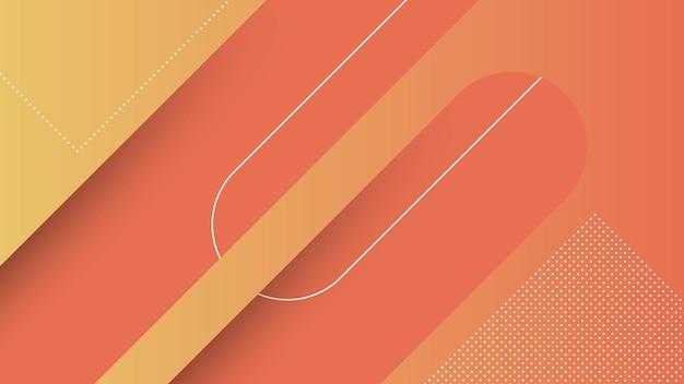 Абстрактный современный фон с диагональными линиями и элементом мемфиса и оранжевым ярким градиентом цвета
