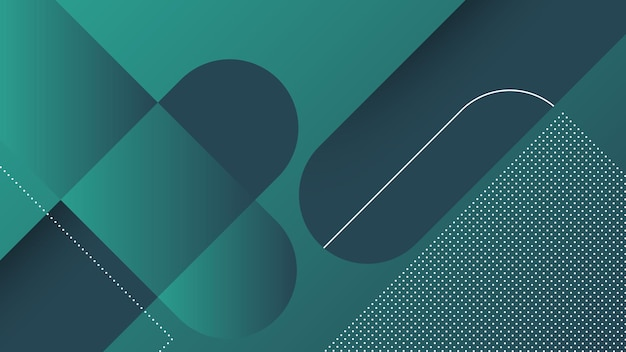 Abstract modern background with diagonal lines and memphis element and dark green vibrant gradient color