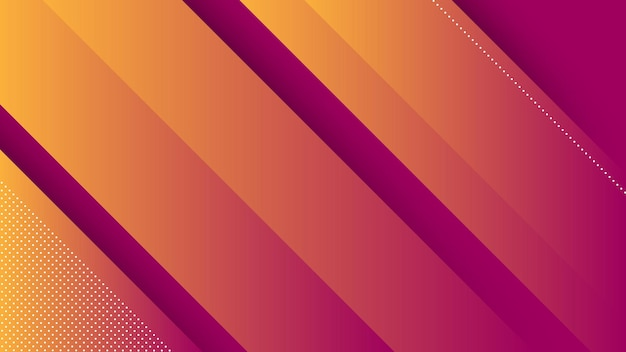 Abstract modern background with diagonal lines and memphis element and orange purple vibrant gradient color