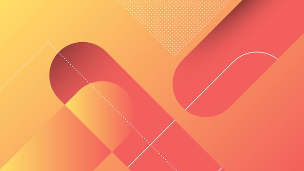 Abstract modern background with diagonal lines and memphis element and red orange vibrant gradient color