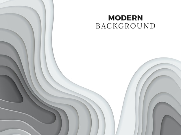 Abstract modern background with grey paper cut element
