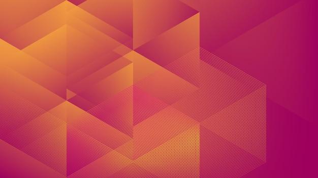 ハーフトーン要素と低ポリ紫オレンジ色のgadient色の抽象的なモダンな背景
