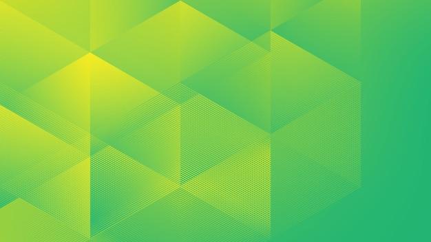 ハーフトーン要素とlowpoly黄緑色のgadient色の抽象的なモダンな背景