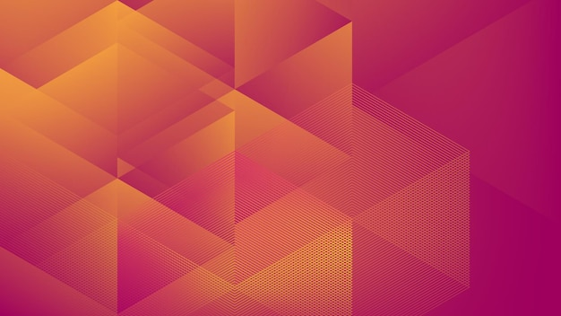 Abstract modern background with halftone element and lowpoly purple orange gadient color