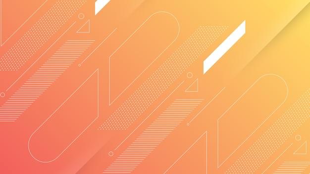 Абстрактный современный фон с мягким оранжевым персиковым градиентом цвета и элементом мемфис