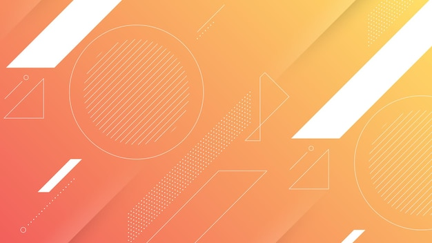 Abstract modern background with soft orange peach color gradient and memphis element