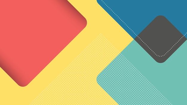 노란색, 파란색 및 빨간색 papercut 스타일의 사각형 삼각형 추상 현대 배경