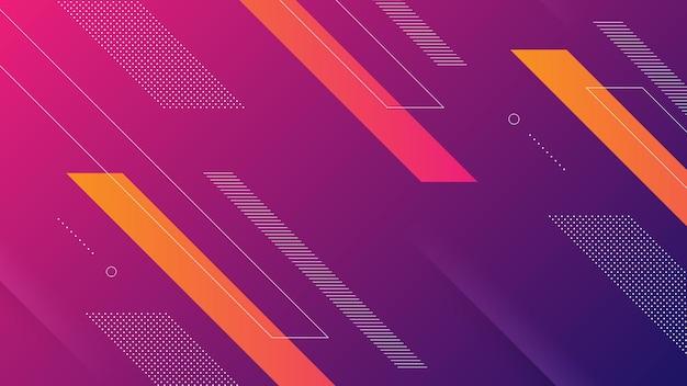 활기찬 보라색과 분홍색 색상 그라디언트 및 멤피스 요소와 추상 현대 배경
