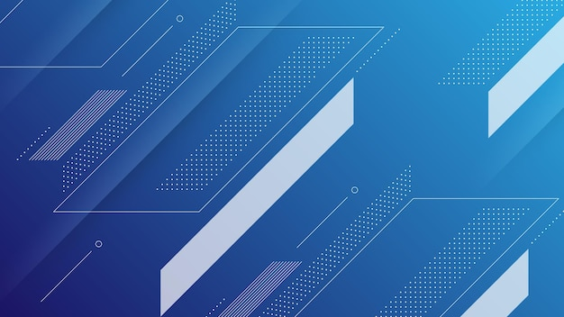 Abstract modern background with vibrant blue color gradient and memphis element