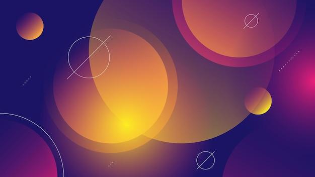 Абстрактный современный фон с ярким синим фиолетовым градиентом цвета и элементом мемфис