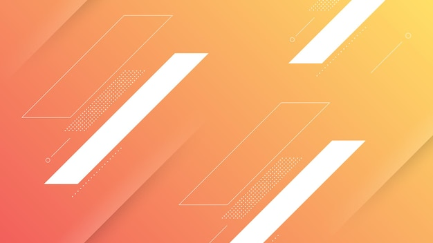 Abstract modern background with vibrant orange peach color gradient and memphis element