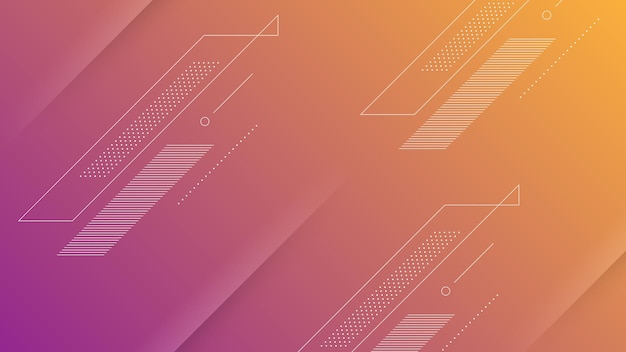 Abstract modern background with vibrant orange purple color gradient and memphis element