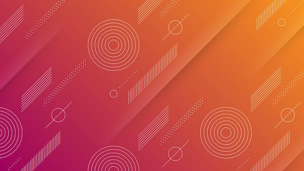 Abstract modern background with vibrant purple orange color gradient and memphis element