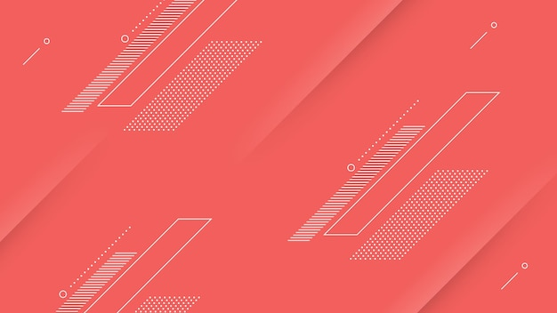 Abstract modern background with vibrant red pink color and memphis element