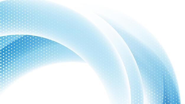 波とハーフトーン要素と鮮やかな青白のグラデーションカラーで抽象的なモダンな背景