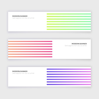 Abstract modern banner collection with lines