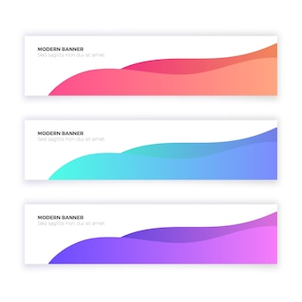 Abstract modern banner collection with wave shapes