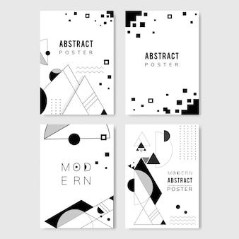 抽象的なモダンな黒と白のテンプレートセット