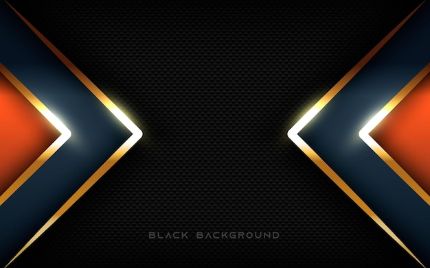 Abstract modern black background layers dimension sparkling light golden list