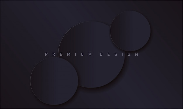 Abstract modern black luxury design background with realistic paper circles with shadows for banner