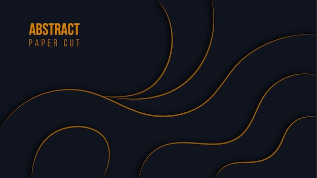 Abstract modern black paper cut background