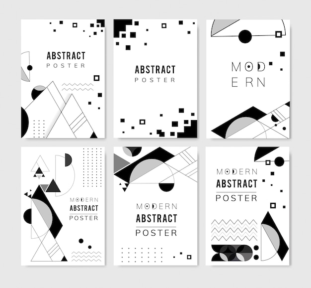 Abstract modern black and white backgrounds set