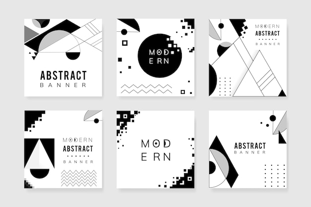 Abstract modern black and white template set