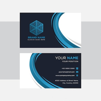 抽象的な現代的な青い要素のデザイン。名刺テンプレートの濃い青と白の背景。水平レイアウト。