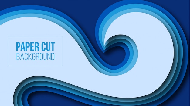 Abstract modern blue paper cut background