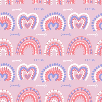 Abstract modern boho rainbows seamless pattern with valentines love hrat shapes