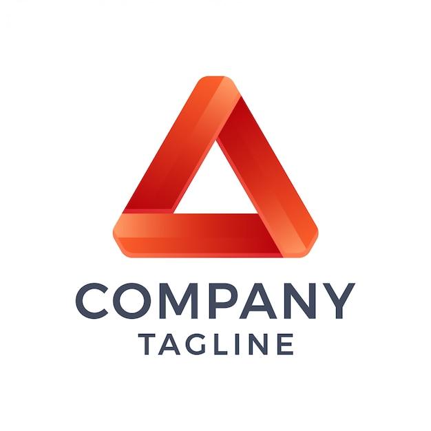抽象的な現代的な大胆な3 d三角形文字グラデーションロゴ