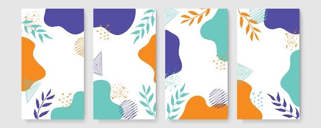 抽象的な現代の植物の自由奔放に生きるポスターコレクション。水彩の抽象的な形の有機ボヘミアン壁アートポスター。ニュートラルなパステルカラー、葉の描画