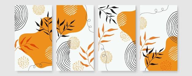 추상적인 현대 식물 보호 포스터 컬렉션입니다. 수채화 추상 모양과 유기 보헤미안 벽 예술 포스터입니다. 중성 파스텔 색상, 단풍 그리기